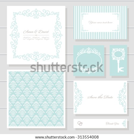 Invitation cards and templates set. Can be used for wedding design. Pastel blue and white colors. - stock vector