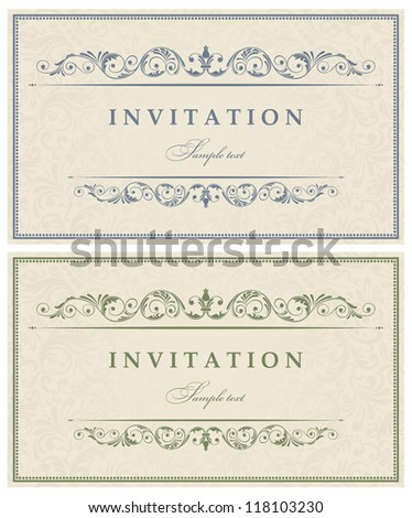 Invitation cards baroque - stock vector