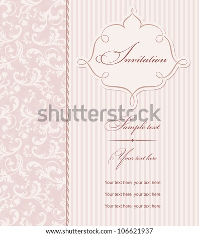 Invitation cards baroque pink
