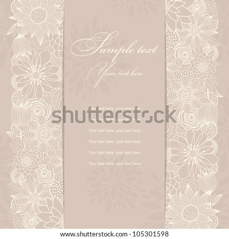 Invitation cards beige with flowers - stock vector
