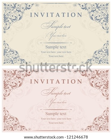 Invitation cards in an old-style - stock vector