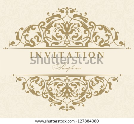 Invitation cards in an old-style beige - stock vector