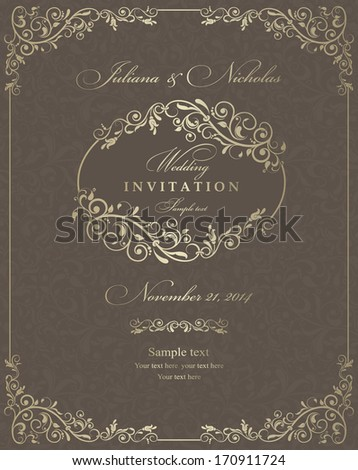 Invitation cards in an old-style brown and gold