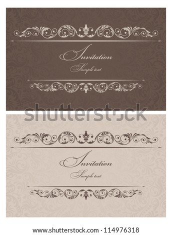 Invitation cards in an old-style brown, beige - stock vector