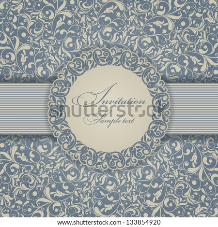 Invitation cards in an old-style gold and blue - stock vector