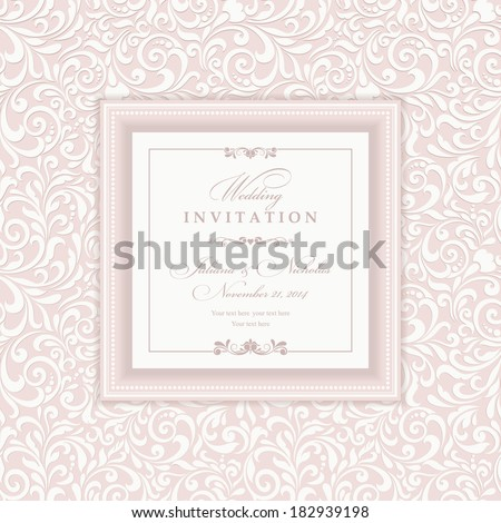 Invitation cards in an old-style pink and beige - stock vector