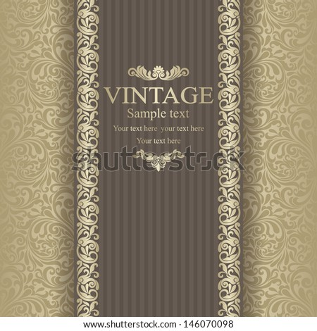 Invitation cards in an vintage-style gold   - stock vector