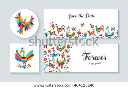 Invitation cards set with colorful spring designs of flowers and animals. Includes text quotes perfect for anniversary, wedding or birthday. EPS10 vector. - stock vector