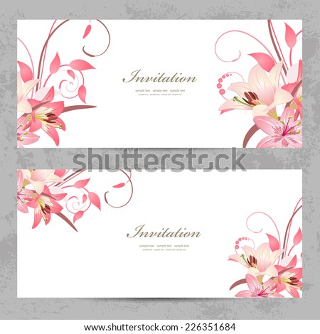 invitation cards with a pink lily for your design - stock vector