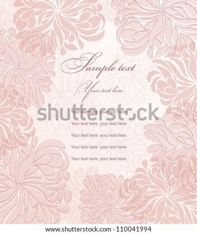 Invitation cards with pink flowers