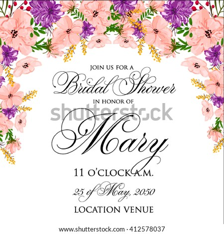 Invitation cards with watercolor elements. Wedding collection set. Flower Watercolor