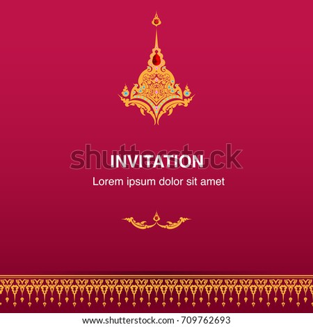 Invitation design template vector background frame em vetor stock invitation design template vector or background frame border decoration in thai style illustration eps 10 stopboris Image collections