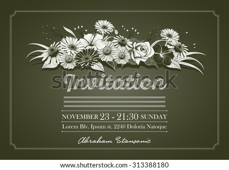 Invitation design template with colorful vintage hand drawn flowers. Elements are layered separately. Two global colors. - stock vector