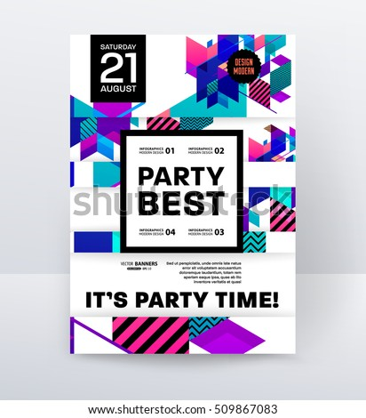Invitation Disco Party Poster Template Geometric Stock Vector