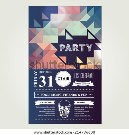 Invitation disco party.Typography.Vector illustration. - stock vector