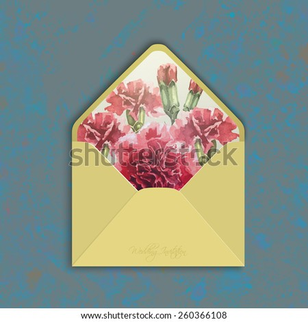 Invitation envelope with watercolor carnation flowers. Open wedding envolope, reverse side. Floral backdrop. Elegance pattern with red flowers. Vintage vector illustration, grunge background, eps 10 - stock vector