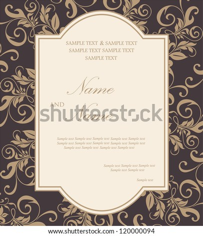 Invitation floral card - stock vector