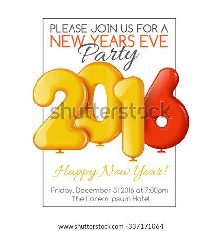 Invitation flyer for the party. Holiday card dedicated to the Christmas and New Year 2016. 3D Air balls, yellow and red colors, on a white background. Vector illustration - stock vector