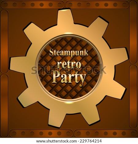 Invitation flyer on retro steampunk party in brown tones. Golden gear. Vector illustration - stock vector