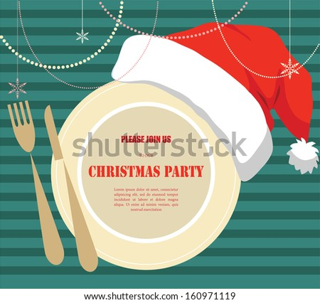 Invitation christmas dinner party plate wearing stock photo photo invitation for christmas dinner party plate wearing a christmas hat stopboris Images