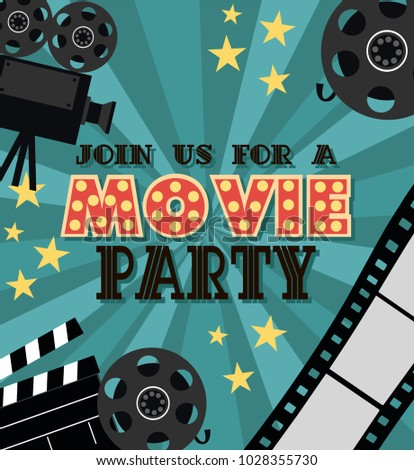 Invitation movie party hollywood party poster stock vector invitation for movie party hollywood party poster cinema poster vector illustration stopboris Gallery