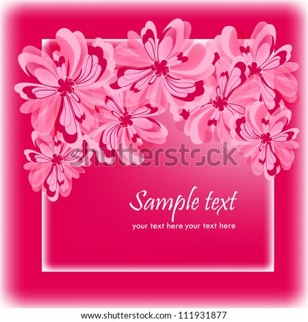 Invitation, greeting card with abstract floral background. Elegance, floral illustration in vintage style.