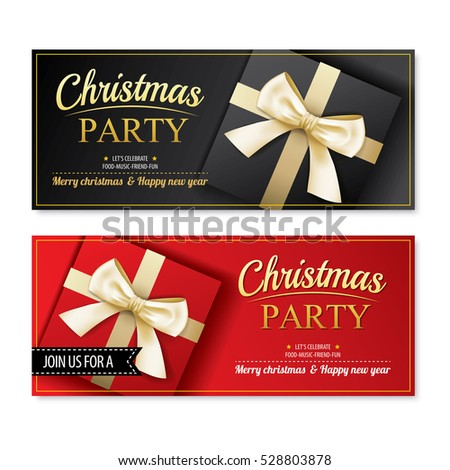 Invitation merry christmas party poster banner and card design template.Happy holiday and new year with gift boxes theme concept.