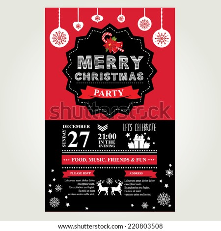 Invitation Merry Christmas. Vector illustration. - stock vector