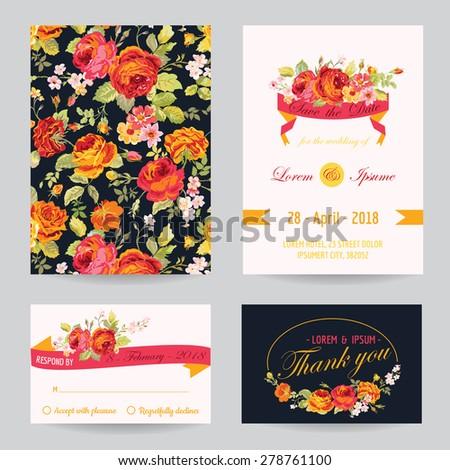 Invitation or Congratulation Card Set - for Wedding, Baby Shower - in vector - stock vector
