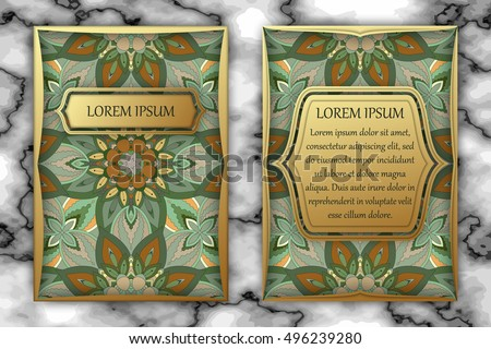 Invitation or greeting card design template. Vintage decorative elements with mandala, delicate floral pattern. Islam, Arabic, Indian, ottoman, aztec motifs