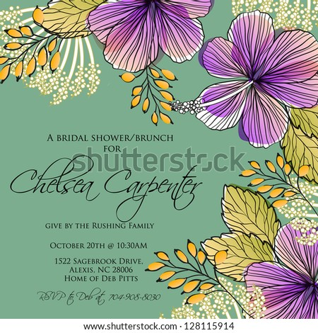 Invitation or wedding card with abstract floral background.