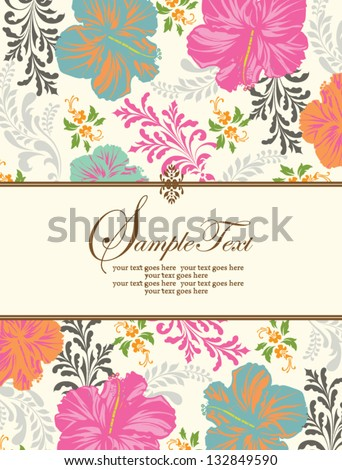Invitation or wedding card with abstract floral background - stock vector