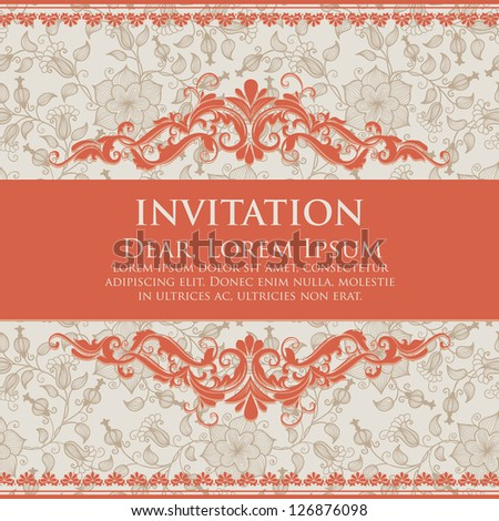 Invitation or wedding card with damask background and elegant floral elements.