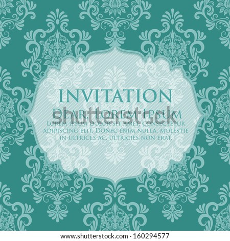 Invitation or wedding card with damask background and elegant floral elements. eps10