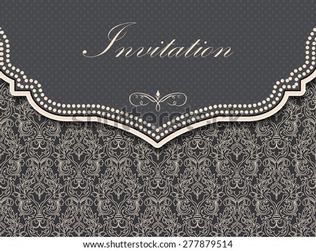 Invitation or wedding card with floral background and elegant floral elements. eps10