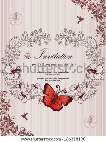 Invitation or wedding card with  floral frame and butterfly - stock vector