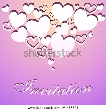Invitation pastel postcard with paper hearts and carved inscription