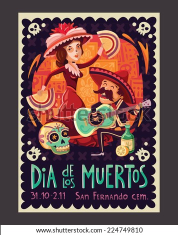 Invitation poster to the Day of the dead party - stock vector