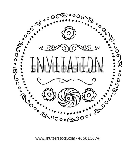 Invitation round frame style boho template stock vector 485811874 invitation round frame in the style of bo ho a template for creating stopboris Images
