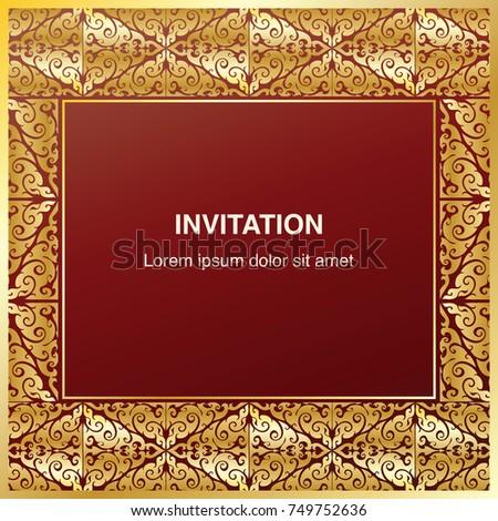 gold frame border vector. Wonderful Gold Invitation Template Background And Frame Border Vector Design Vintage  Decoration In Gold Color Thai To Gold Frame Border Vector