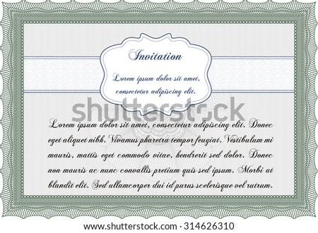 Invitation template. Complex background. Cordial design. Border, frame.