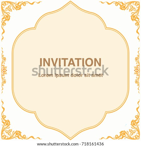 Invitation template frame border vector design stock vector invitation template frame and border vector design in thai style floral antique decorative illustration stopboris Gallery