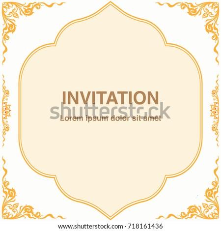 Invitation template frame border vector design stock vector invitation template frame and border vector design in thai style floral antique decorative illustration stopboris Gallery