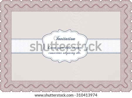Invitation template. Good design. Border, frame. Complex background.  - stock vector
