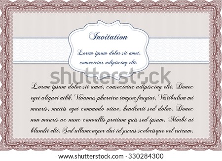 Invitation template. With background. Border, frame.Superior design.