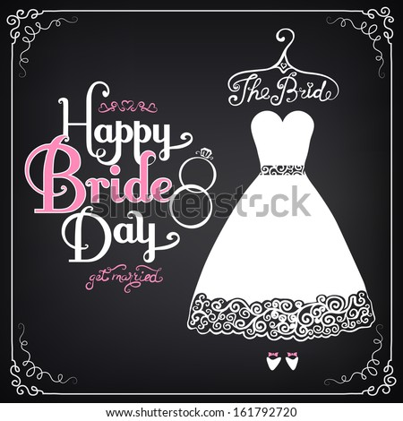 Invitation template with beautiful wedding dress. Vintage style - stock vector