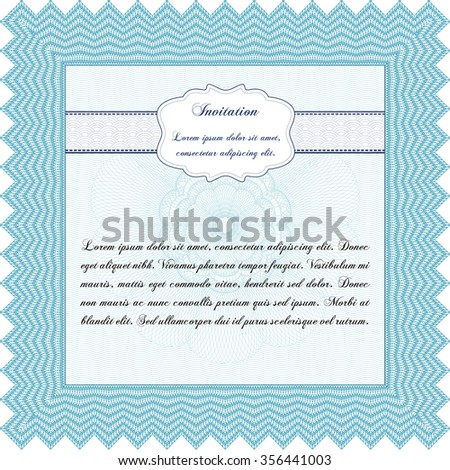 Invitation template. With quality background. Sophisticated design. Detailed.