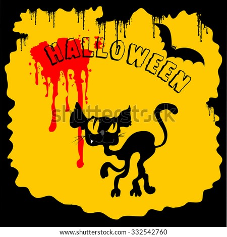 Invitation to a Halloween black cat on the cover - stock vector