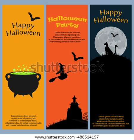 Invitation to a Halloween party. Vertical banner card set greeting card, vector illustration