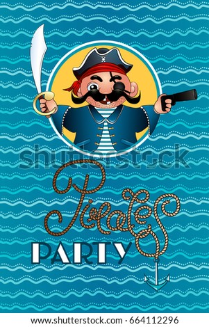 Invitation pirate party pirate pistol sword stock vector 664112296 invitation to a pirate party pirate with pistol and sword invites you to a party stopboris Gallery
